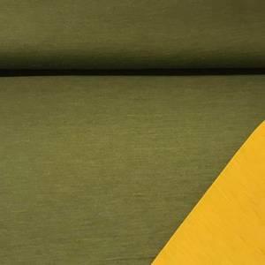 Bilde av Strikket merinoull - tosidig ensfarget i grønn og okergul
