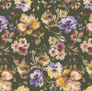 Bilde av Viscose grønn med blomster