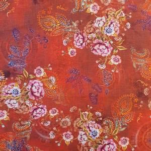 Bilde av Lin/viskose - blomster på rød