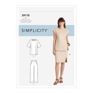 Bilde av Simplicity S9115 Topp, skjørt og bukse