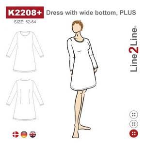 Bilde av Line2Line K2208+ Kjole med vid bunn - stretch stoff (str. 52-64)