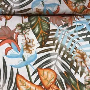 Bilde av Viskose/lin - hvit med tropiske blader og blomster