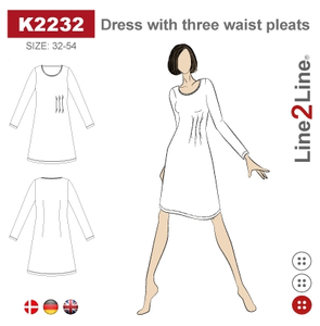 Bilde av Line2Line K2232 Kjole med tre lægg i siden