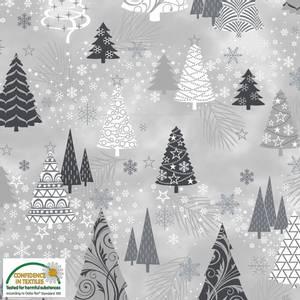 Bilde av Bomull - It's Snowflake  - trær og snøkrystaller i sølv
